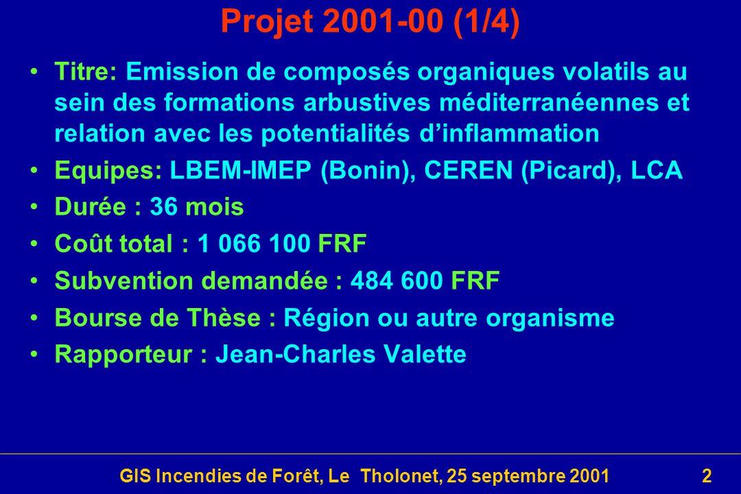 GIS Incendies de Forêt, Le Tholonet, 25 septembre 20012 Projet 2001-00 (1/4) Titre: Emission de composés organiques volatils au sein des formations arbustives méditerranéennes et relation avec les potentialités dinflammation Equipes: LBEM-IMEP (Bonin), CEREN (Picard), LCA Durée : 36 mois Coût total : 1 066 100 FRF Subvention demandée : 484 600 FRF Bourse de Thèse : Région ou autre organisme Rapporteur : Jean-Charles Valette