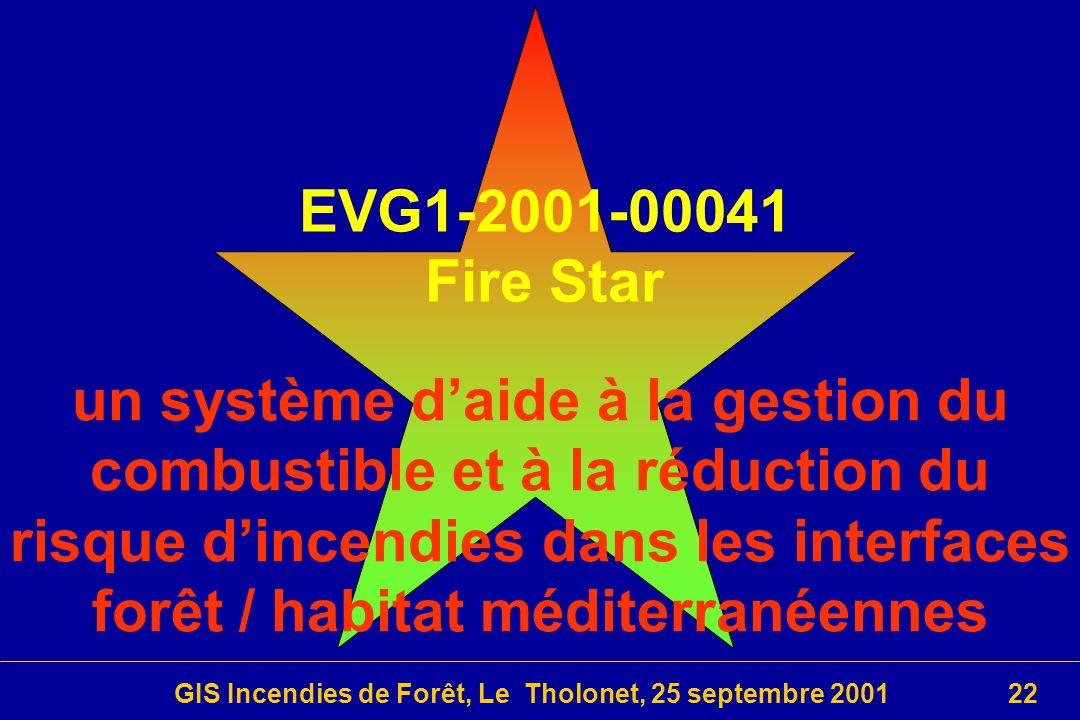 GIS Incendies de Forêt, Le Tholonet, 25 septembre 200122 EVG1-2001-00041 Fire Star un système daide à la gestion du combustible et à la réduction du risque dincendies dans les interfaces forêt / habitat méditerranéennes