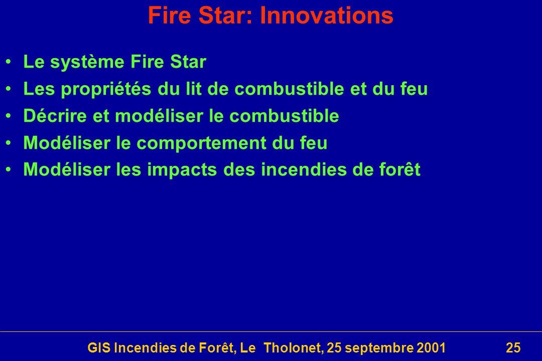 GIS Incendies de Forêt, Le Tholonet, 25 septembre 200125 Fire Star: Innovations Le système Fire Star Les propriétés du lit de combustible et du feu Décrire et modéliser le combustible Modéliser le comportement du feu Modéliser les impacts des incendies de forêt