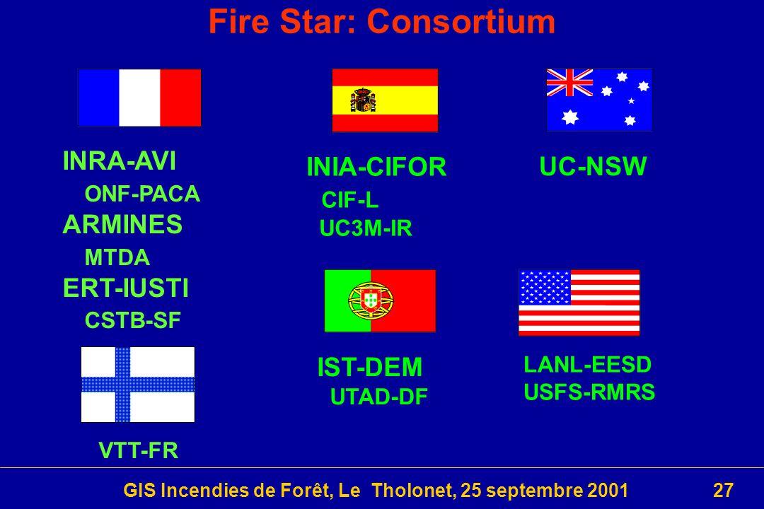 GIS Incendies de Forêt, Le Tholonet, 25 septembre 200127 INIA-CIFOR CIF-L UC3M-IR Fire Star: Consortium INRA-AVI ONF-PACA ARMINES MTDA ERT-IUSTI CSTB-SF IST-DEM UTAD-DF UC-NSW LANL-EESD USFS-RMRS VTT-FR