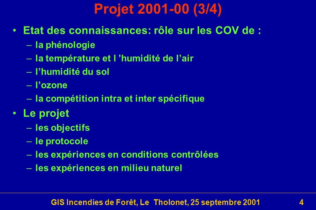 GIS Incendies de Forêt, Le Tholonet, 25 septembre 200115 Projet 2001-09 (7/7) Liens avec dautres projets –FireTorch: Impact écologique des brûlages dirigés, en 2000 –Plan Pluri-Formation de l E.P.H.E.