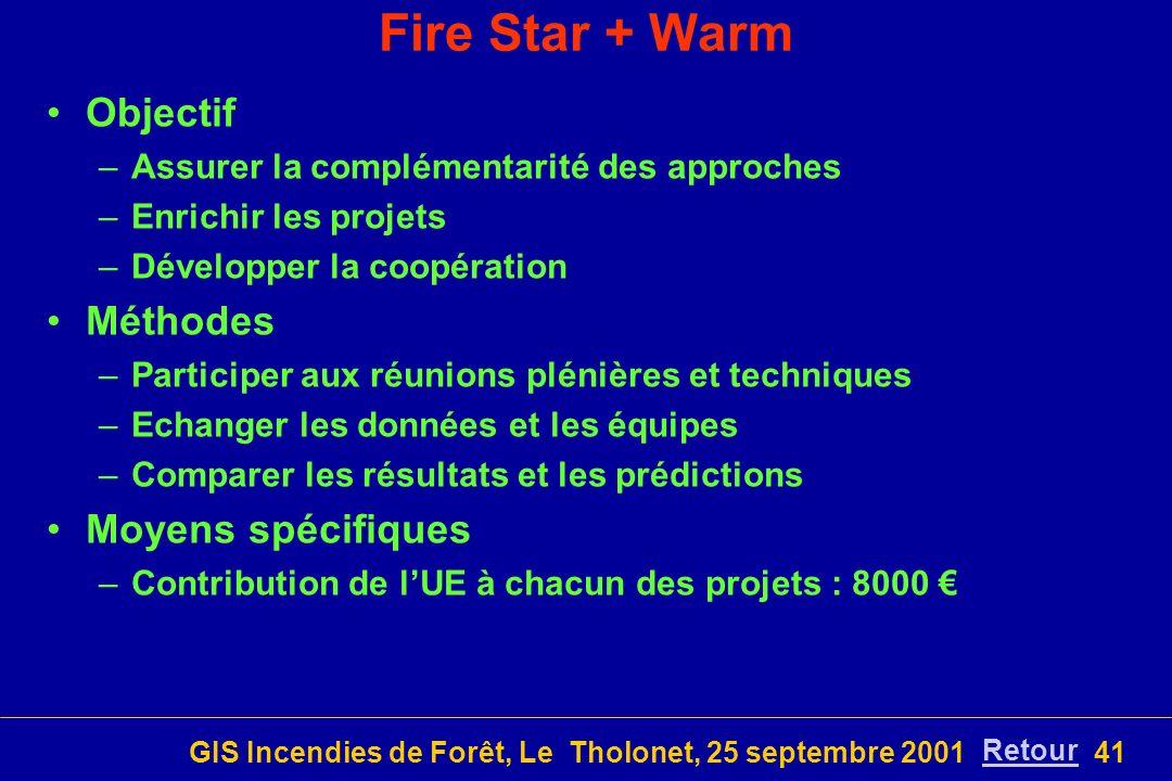 GIS Incendies de Forêt, Le Tholonet, 25 septembre 200141 Fire Star + Warm Objectif –Assurer la complémentarité des approches –Enrichir les projets –Développer la coopération Méthodes –Participer aux réunions plénières et techniques –Echanger les données et les équipes –Comparer les résultats et les prédictions Moyens spécifiques –Contribution de lUE à chacun des projets : 8000 Retour