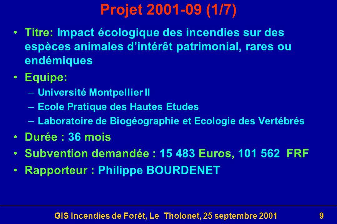GIS Incendies de Forêt, Le Tholonet, 25 septembre 200120 Le 4ème Programme Thématique (3/4)
