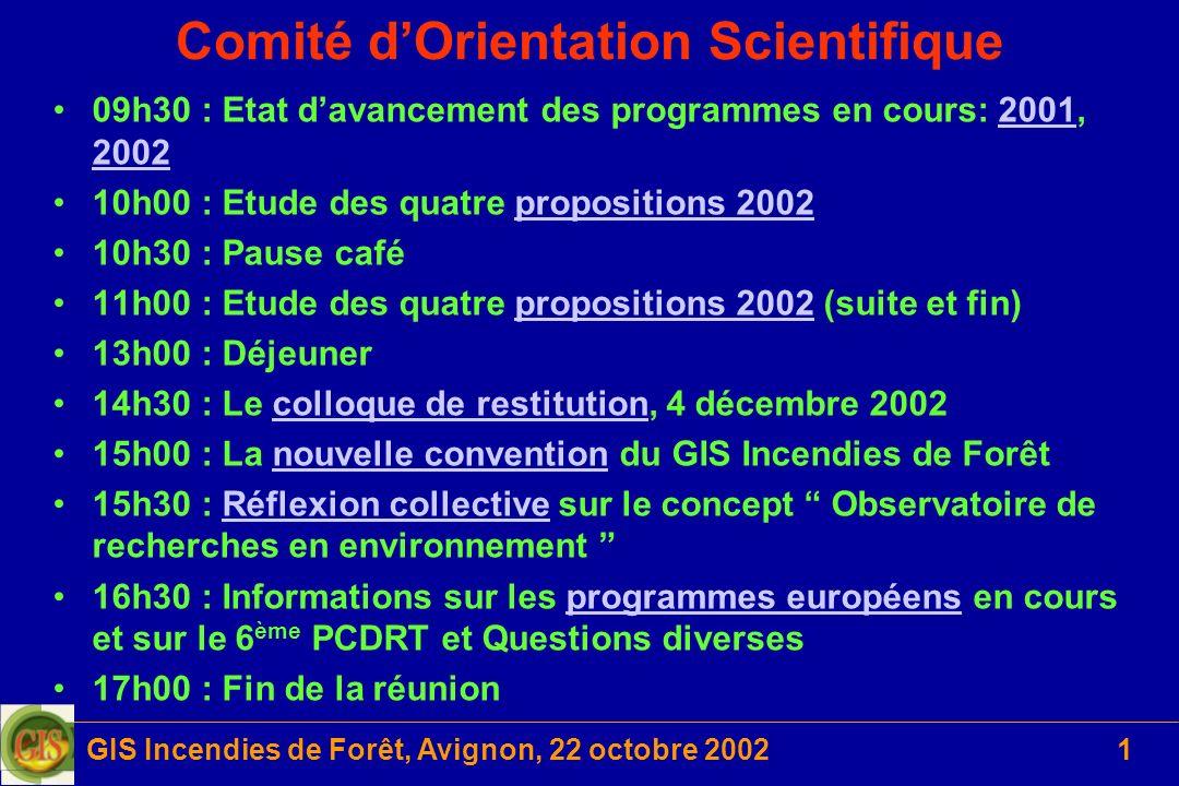 GIS Incendies de Forêt, Avignon, 22 octobre 200212 Projet 2001-2 (3/6) Protocole 2 : Comparaison entre valeurs mesurées et valeurs prédites par spectrométrie proche infra-rouge sur échantillons secs (CNRS) –Spectrométrie dans le proche infrarouge (400-2500 nm) des feuilles séchées et broyées de 7 espèces (2001) –Relation entre le spectre obtenu et la teneur en eau initiale des feuilles fraîches –Excellente modélisation (r²=0,94) quelle que soit lespèce –Validation du modèle avec données 2002 pour 8 espèces (en cours)