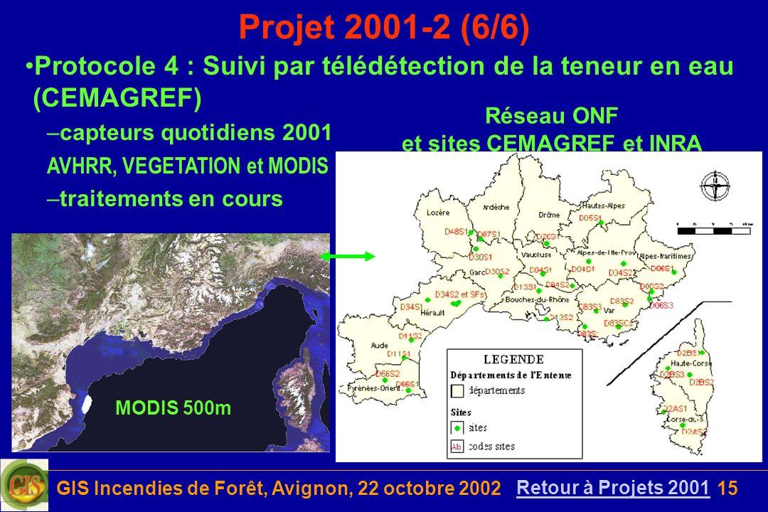 GIS Incendies de Forêt, Avignon, 22 octobre 200215 Projet 2001-2 (6/6) Réseau ONF et sites CEMAGREF et INRA Protocole 4 : Suivi par télédétection de l