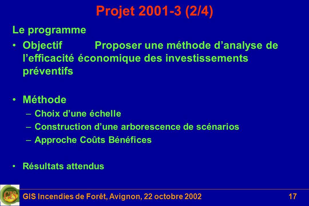 GIS Incendies de Forêt, Avignon, 22 octobre 200217 Projet 2001-3 (2/4) Le programme ObjectifProposer une méthode danalyse de lefficacité économique de