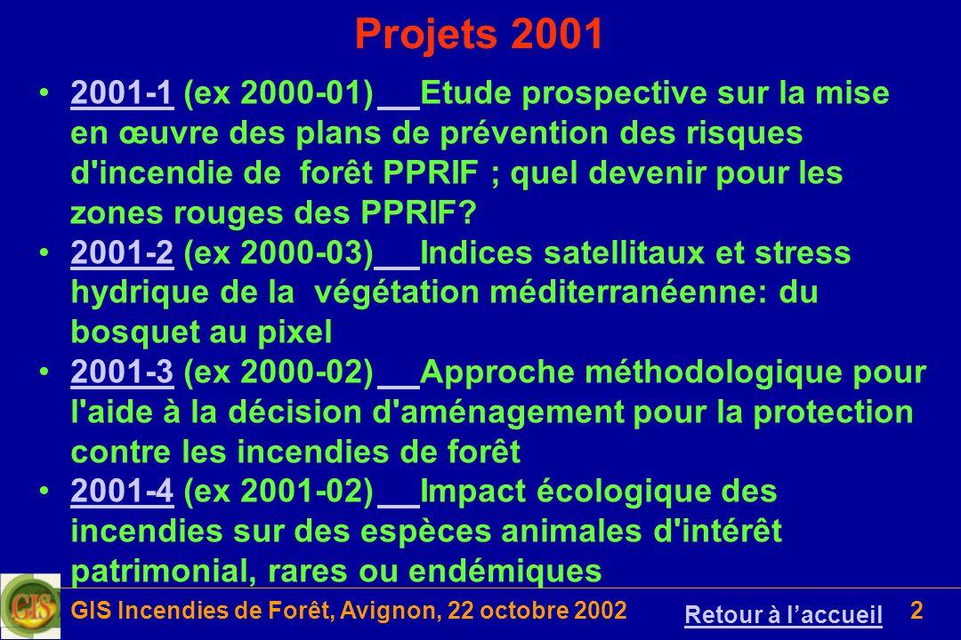 GIS Incendies de Forêt, Avignon, 22 octobre 200243 Proposition 2002-05 (4/4) Résultats attendus –Scientifique Mieux connaître les réactions des espèces arborées lorsque la strate arbustive est réduite et celle des espèces arbustives lorsque le couvert de la strate arborée est réduit par éclaircie et élagage –Appliqué Utiliser ces connaissances pour étayer les recommandations pour restructurer les formations à Pin d Alep et Chêne vert dans le but de réduire les risques d éclosion et de propagation du feu, sur les coupures de combustible et en peuplement plein Liens avec dautres projets Contrat MAP/INRA/IUSTI 61.21.05/98 Contrat MAP/INRA-CIRAD 61.21.43/00 Contrat EU, EVG1-CT-2001-00041, FIRE STAR Contrat EU, EVR1-CT- 2002-40028, EU FIRE LAB Projet du Groupe d Etudes du Pin d Alep déposé auprès du Service Forêt et Hydraulique du Conseil Régional de PACA Projet « Réseau Ecophysioloie de lArbre » de lINRA - DS EFA Retour à Pro 2002