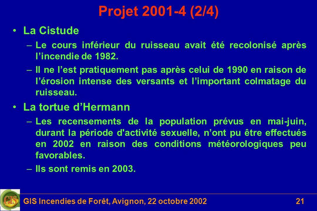 GIS Incendies de Forêt, Avignon, 22 octobre 200221 Projet 2001-4 (2/4) La Cistude –Le cours inférieur du ruisseau avait été recolonisé après lincendie