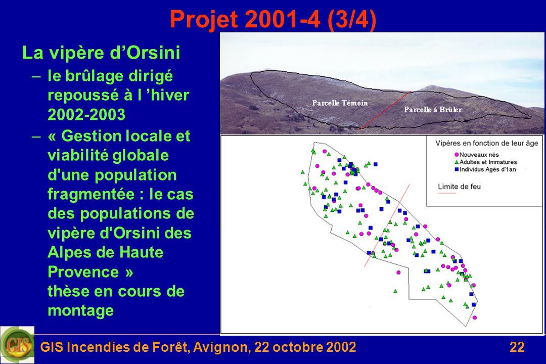 GIS Incendies de Forêt, Avignon, 22 octobre 200222 Projet 2001-4 (3/4) La vipère dOrsini –le brûlage dirigé repoussé à l hiver 2002-2003 –« Gestion lo