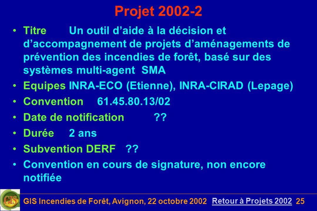 GIS Incendies de Forêt, Avignon, 22 octobre 200225 Projet 2002-2 TitreUn outil daide à la décision et daccompagnement de projets daménagements de prév