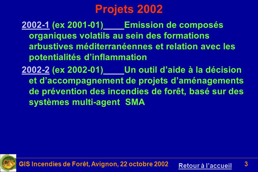 GIS Incendies de Forêt, Avignon, 22 octobre 20023 Projets 2002 2002-12002-1 (ex 2001-01)Emission de composés organiques volatils au sein des formation