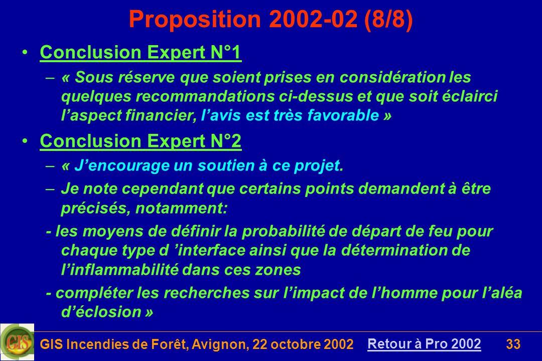 GIS Incendies de Forêt, Avignon, 22 octobre 200233 Conclusion Expert N°1 –« Sous réserve que soient prises en considération les quelques recommandatio
