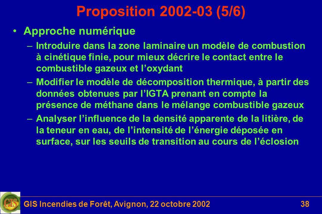 GIS Incendies de Forêt, Avignon, 22 octobre 200238 Proposition 2002-03 (5/6) Approche numérique –Introduire dans la zone laminaire un modèle de combus
