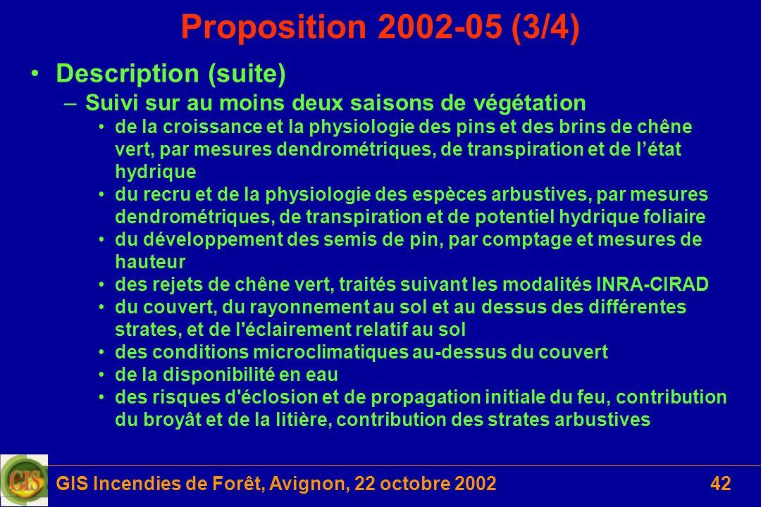 GIS Incendies de Forêt, Avignon, 22 octobre 200242 Proposition 2002-05 (3/4) Description (suite) –Suivi sur au moins deux saisons de végétation de la