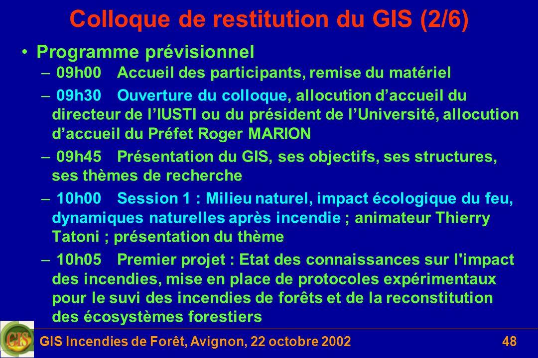 GIS Incendies de Forêt, Avignon, 22 octobre 200248 Colloque de restitution du GIS (2/6) Programme prévisionnel – 09h00Accueil des participants, remise