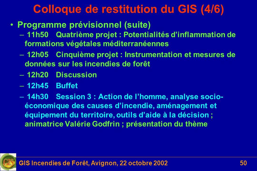 GIS Incendies de Forêt, Avignon, 22 octobre 200250 Colloque de restitution du GIS (4/6) Programme prévisionnel (suite) – 11h50Quatrième projet : Poten