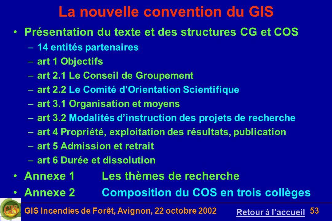 GIS Incendies de Forêt, Avignon, 22 octobre 200253 La nouvelle convention du GIS Présentation du texte et des structures CG et COS –14 entités partena