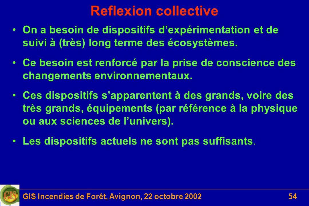 GIS Incendies de Forêt, Avignon, 22 octobre 200254 Reflexion collective On a besoin de dispositifs dexpérimentation et de suivi à (très) long terme de