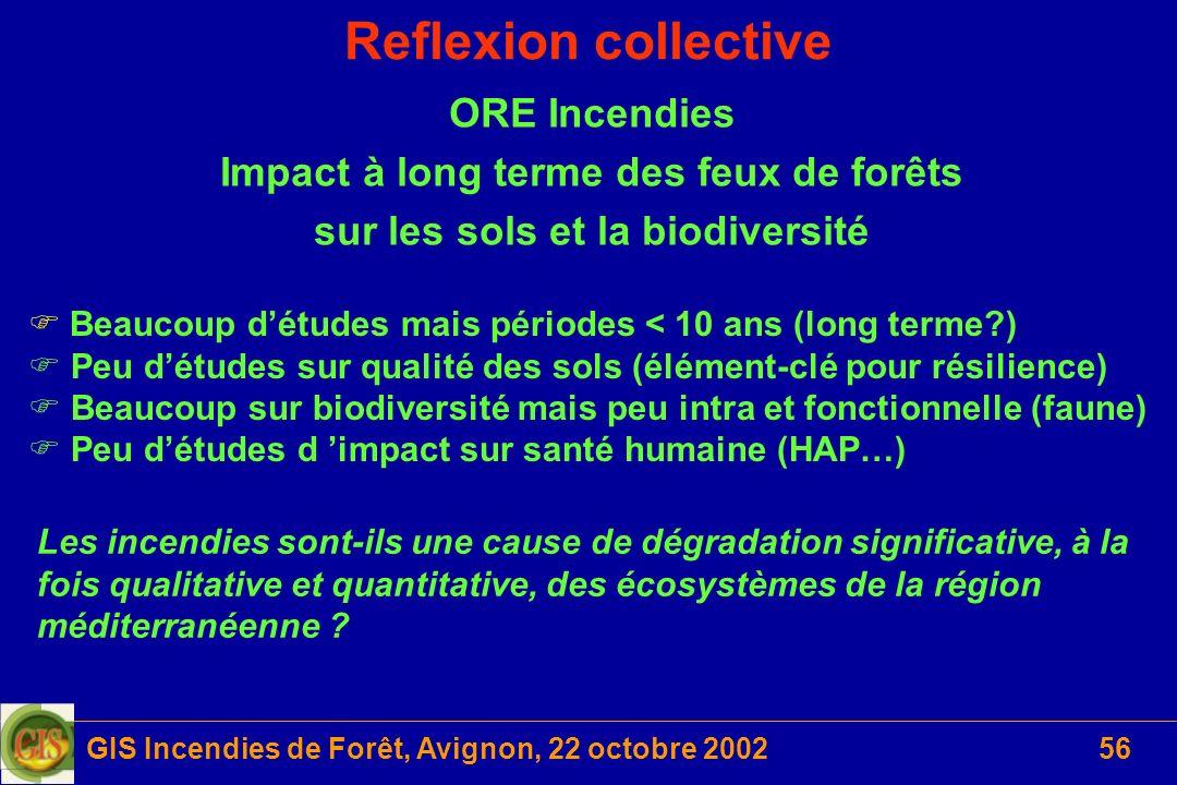 GIS Incendies de Forêt, Avignon, 22 octobre 200256 Reflexion collective Les incendies sont-ils une cause de dégradation significative, à la fois quali