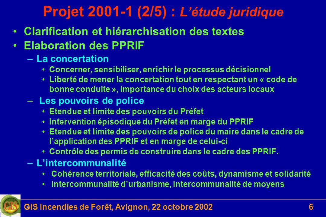 GIS Incendies de Forêt, Avignon, 22 octobre 20026 Projet 2001-1 (2/5) : Létude juridique Clarification et hiérarchisation des textes Elaboration des P