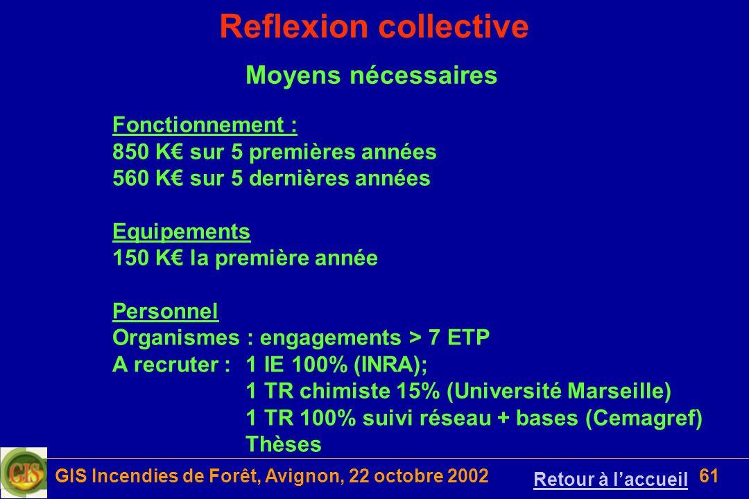 GIS Incendies de Forêt, Avignon, 22 octobre 200261 Reflexion collective Moyens nécessaires Fonctionnement : 850 K sur 5 premières années 560 K sur 5 d