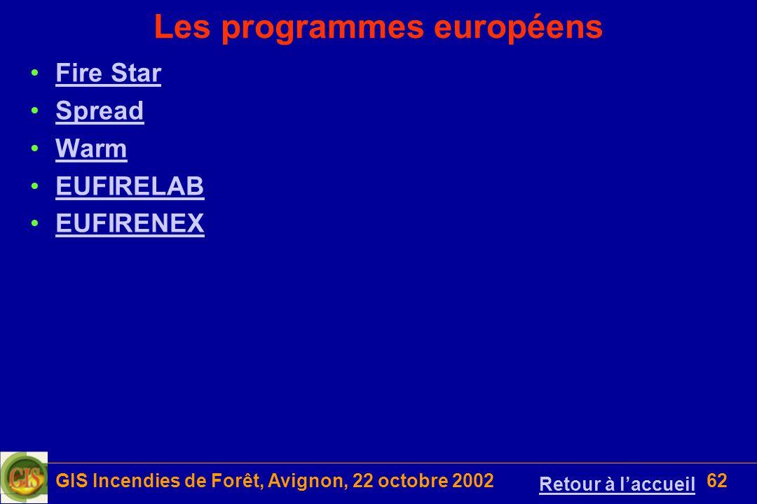 GIS Incendies de Forêt, Avignon, 22 octobre 200262 Les programmes européens Fire Star Spread Warm EUFIRELAB EUFIRENEX Retour à laccueil