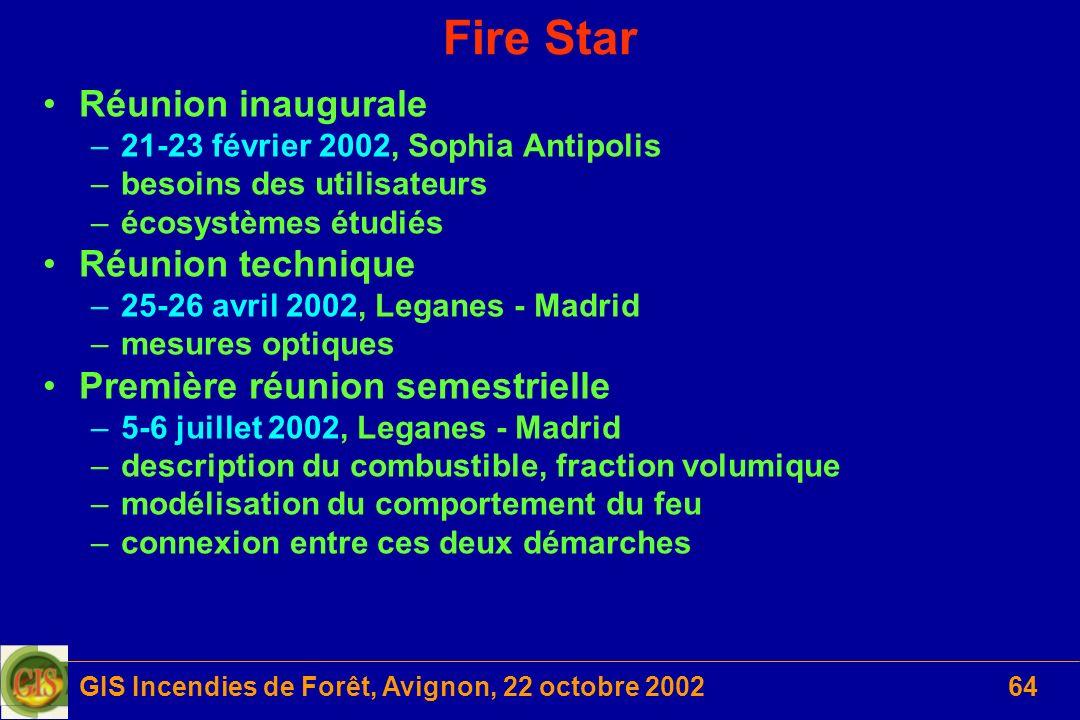 GIS Incendies de Forêt, Avignon, 22 octobre 200264 Fire Star Réunion inaugurale –21-23 février 2002, Sophia Antipolis –besoins des utilisateurs –écosy