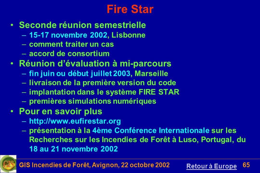 GIS Incendies de Forêt, Avignon, 22 octobre 200265 Fire Star Seconde réunion semestrielle –15-17 novembre 2002, Lisbonne –comment traiter un cas –acco