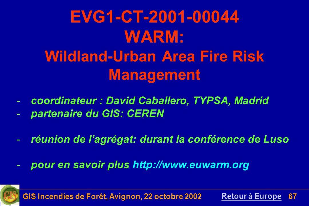 GIS Incendies de Forêt, Avignon, 22 octobre 200267 EVG1-CT-2001-00044 WARM: Wildland-Urban Area Fire Risk Management Retour à Europe -coordinateur : D