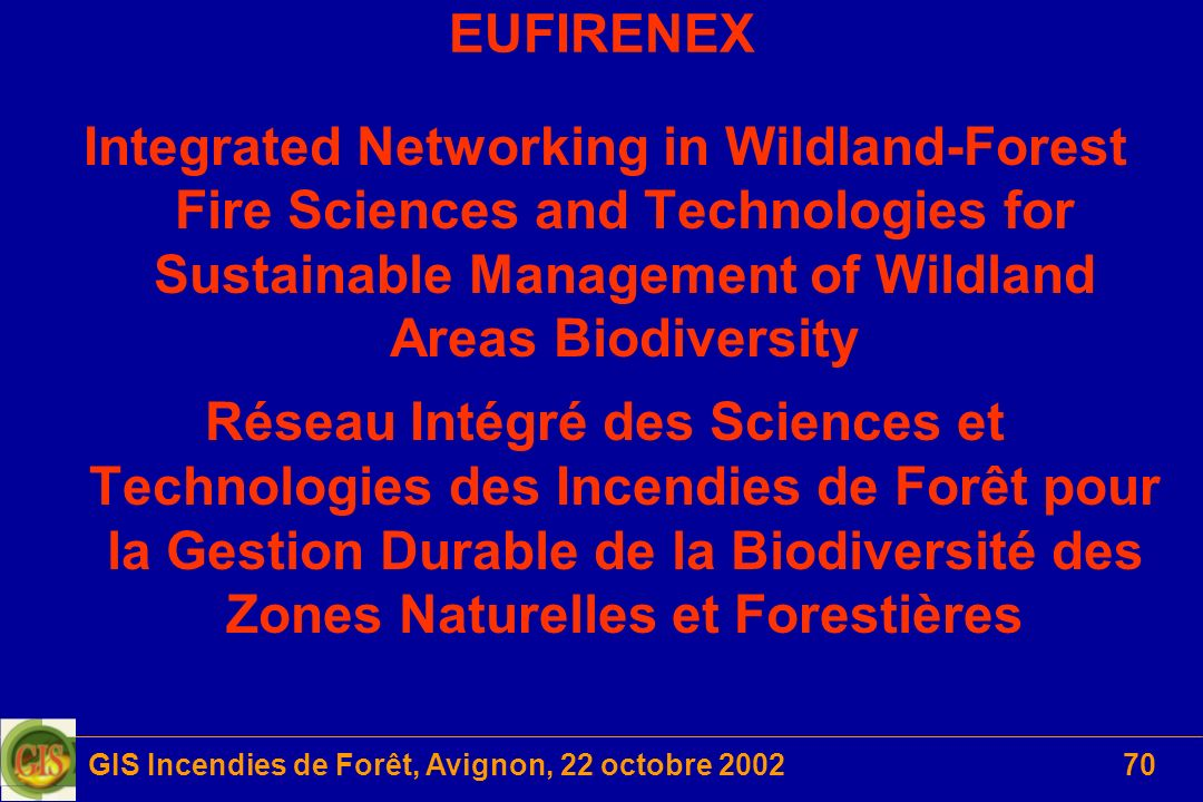 GIS Incendies de Forêt, Avignon, 22 octobre 200270 EUFIRENEX Integrated Networking in Wildland-Forest Fire Sciences and Technologies for Sustainable M