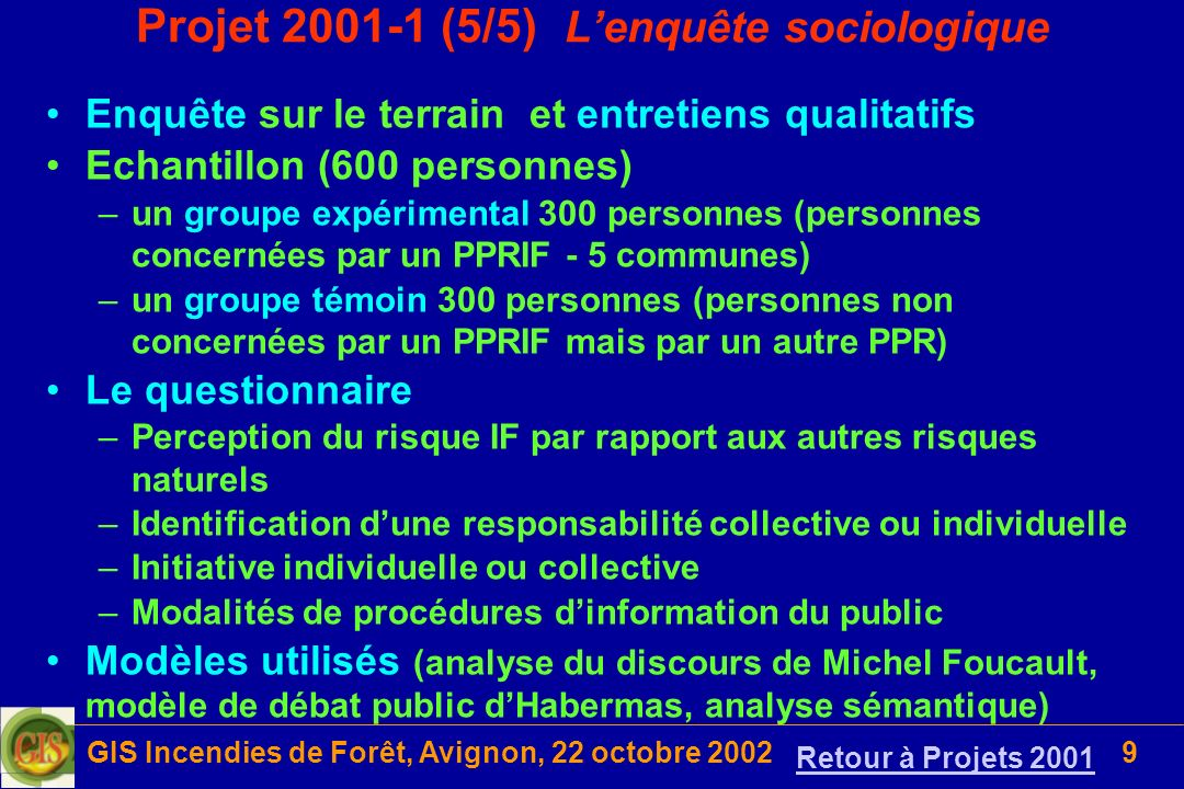 GIS Incendies de Forêt, Avignon, 22 octobre 20029 Projet 2001-1 (5/5) Lenquête sociologique Enquête sur le terrain et entretiens qualitatifs Echantill