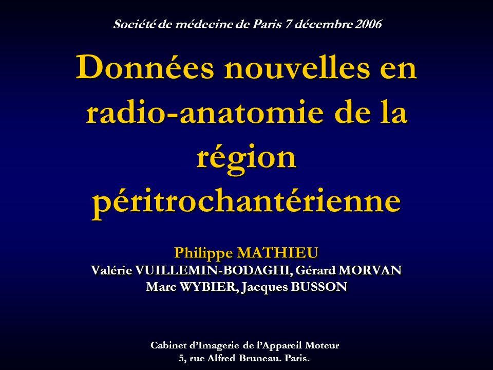 Données nouvelles en radio-anatomie de la région péritrochantérienne Philippe MATHIEU Valérie VUILLEMIN-BODAGHI, Gérard MORVAN Marc WYBIER, Jacques BU