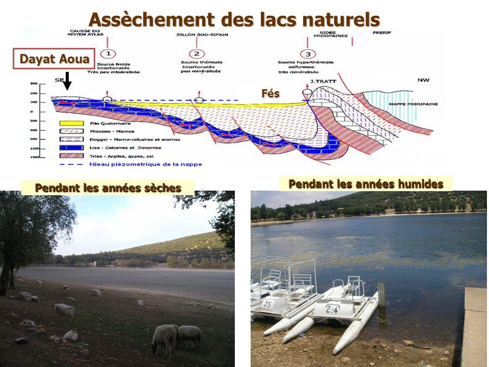 Pendant les années sèches Dayat Aoua Assèchement des lacs naturels Fés Pendant les années humides