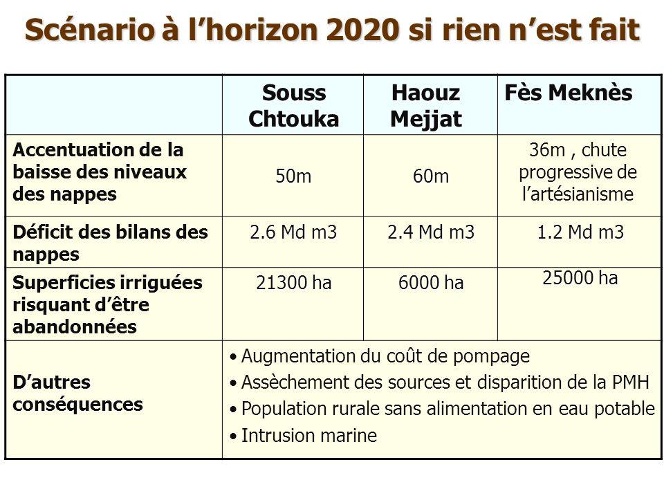 Scénario à lhorizon 2020 si rien nest fait Souss Chtouka Haouz Mejjat Fès Meknès Accentuation de la baisse des niveaux des nappes50m60m 36m, chute pro