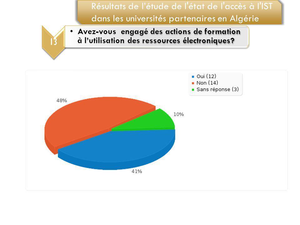 13 Avez-vous engagé des actions de formation à lutilisation des ressources électroniques? Résultats de létude de l'état de l'accès à l'IST dans les un