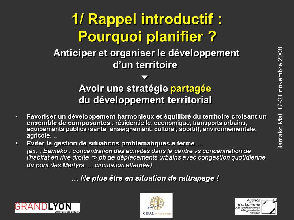 Bamako Mali 17-21 novembre 2008 2/ Un processus sarticulant autour de 4 dimensions Léchelle territoriale : Trouver la bonne échelle = le territoire vécu ne correspond pas forcément aux limites administratives (ex.