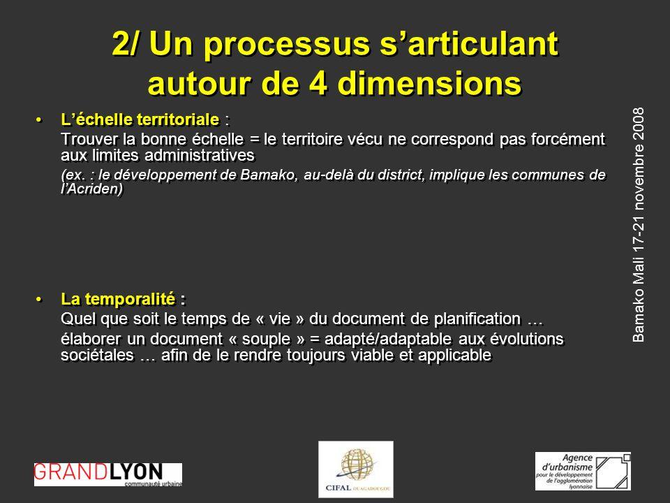 Bamako Mali 17-21 novembre 2008 2/ Un processus sarticulant autour de 4 dimensions Les acteurs institutionnels … : Nécessité de « sortir » de ses frontières administratives pour dialoguer avec ses voisins … avec lesquels un destin commun se partage .