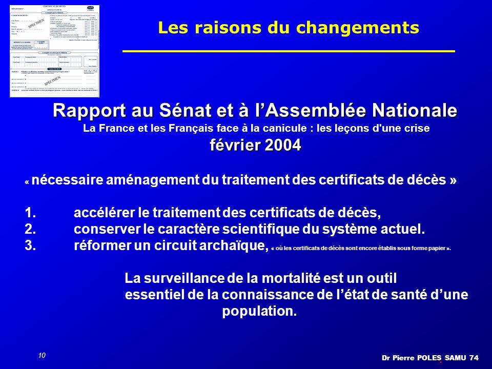 Dr Pierre POLES SAMU 74 10 Les raisons du changements Rapport au Sénat et à lAssemblée Nationale La France et les Français face à la canicule : les le