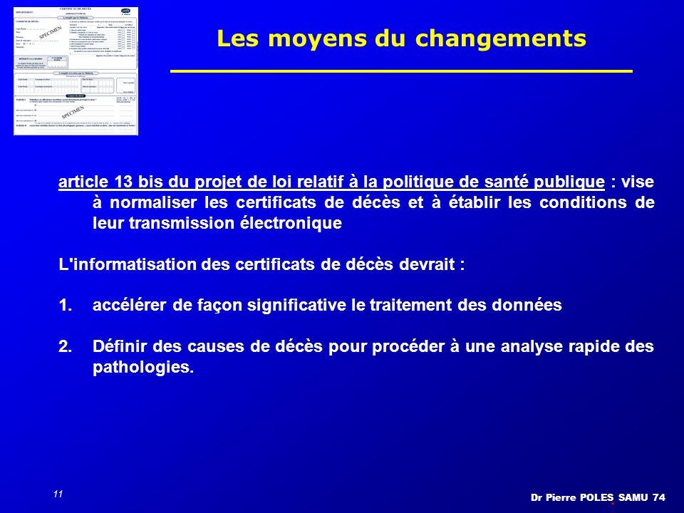 Dr Pierre POLES SAMU 74 11 Les moyens du changements article 13 bis du projet de loi relatif à la politique de santé publique : vise à normaliser les