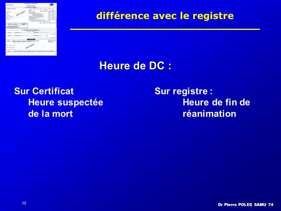 Dr Pierre POLES SAMU 74 13 différence avec le registre Heure de DC : Sur CertificatSur registre : Heure suspectée Heure de fin de de la mortréanimatio