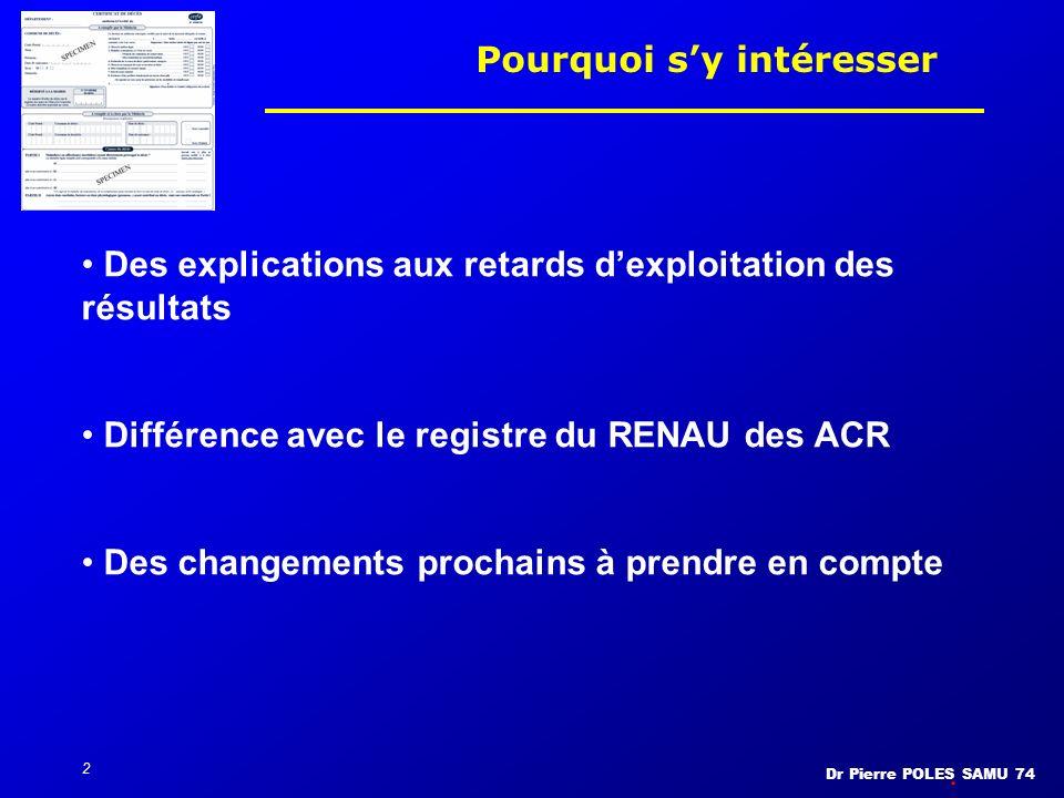 Dr Pierre POLES SAMU 74 2 Pourquoi sy intéresser Des explications aux retards dexploitation des résultats Différence avec le registre du RENAU des ACR