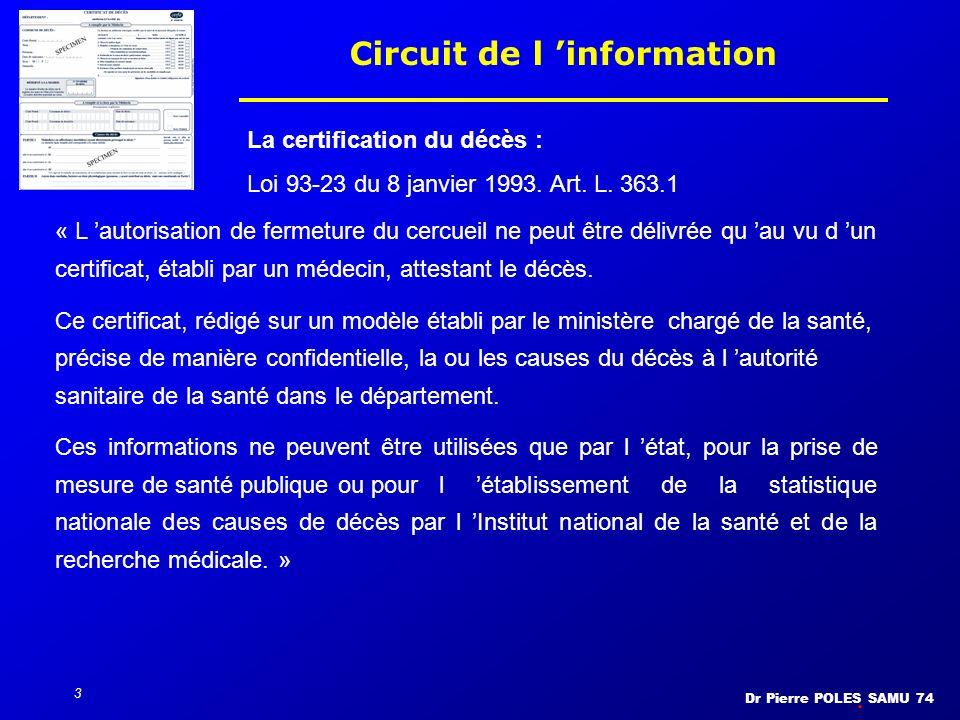 Dr Pierre POLES SAMU 74 3 Circuit de l information La certification du décès : Loi 93-23 du 8 janvier 1993. Art. L. 363.1 « L autorisation de fermetur