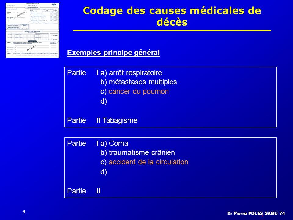 Dr Pierre POLES SAMU 74 5 Codage des causes médicales de décès PartieI a) arrêt respiratoire b) métastases multiples c) cancer du poumon d) PartieII T