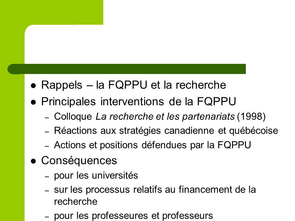 Rappels – la FQPPU et la recherche Principales interventions de la FQPPU – Colloque La recherche et les partenariats (1998) – Réactions aux stratégies canadienne et québécoise – Actions et positions défendues par la FQPPU Conséquences – pour les universités – sur les processus relatifs au financement de la recherche – pour les professeures et professeurs