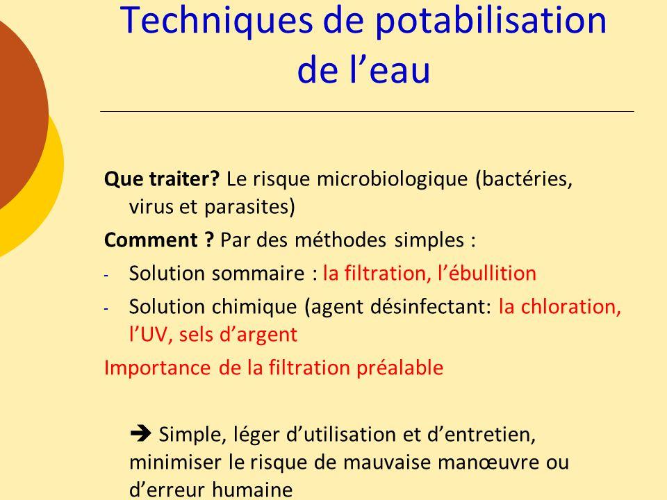Techniques de potabilisation de leau Que traiter? Le risque microbiologique (bactéries, virus et parasites) Comment ? Par des méthodes simples : - Sol