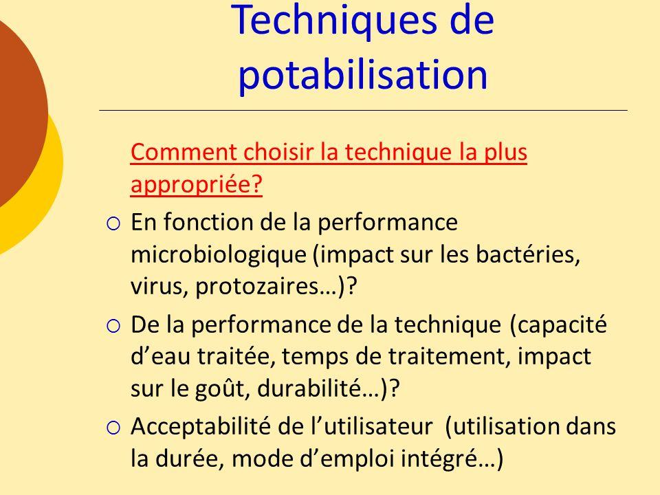 Techniques de potabilisation Comment choisir la technique la plus appropriée? En fonction de la performance microbiologique (impact sur les bactéries,