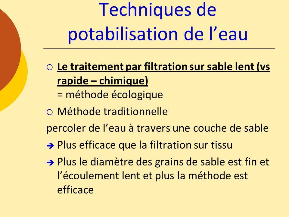 Le traitement par filtration sur sable lent (vs rapide – chimique) = méthode écologique Méthode traditionnelle percoler de leau à travers une couche d