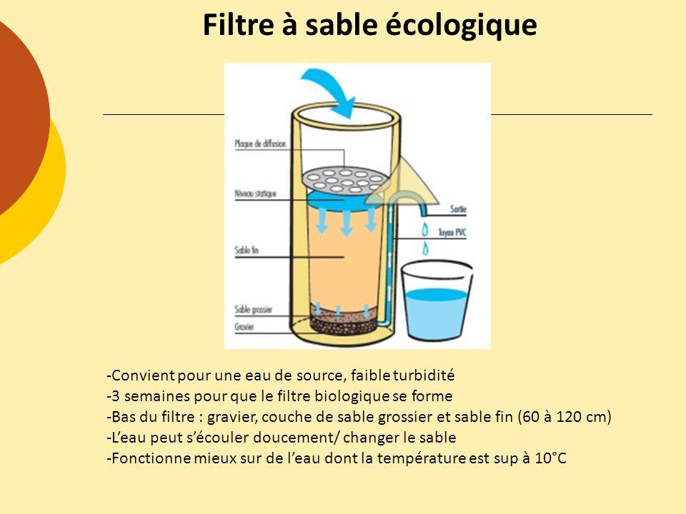 Filtre à sable écologique -Convient pour une eau de source, faible turbidité -3 semaines pour que le filtre biologique se forme -Bas du filtre : gravi