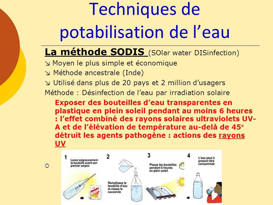 Techniques de potabilisation de leau La méthode SODIS (SOlar water DISinfection) Moyen le plus simple et économique Méthode ancestrale (Inde) Utilisé
