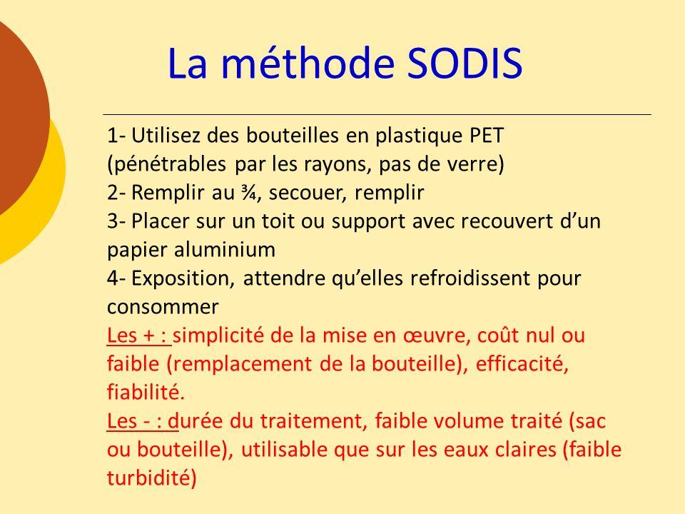 La méthode SODIS 1- Utilisez des bouteilles en plastique PET (pénétrables par les rayons, pas de verre) 2- Remplir au ¾, secouer, remplir 3- Placer su